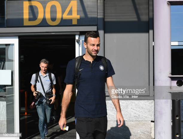 Samir Handanovic of FC Internazionale departs to Sion at Malpensa Airport on July 18 2018 in Varese Italy