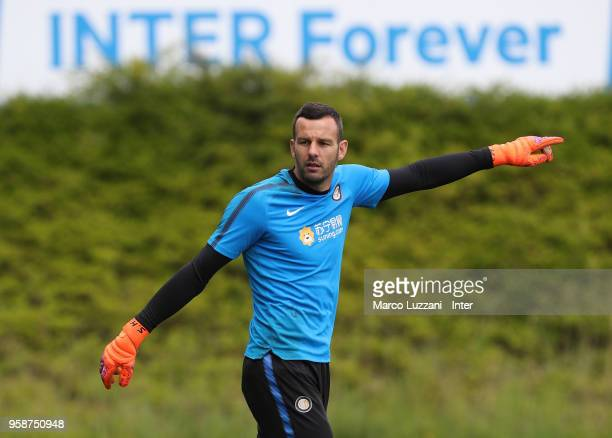 Samir Handanovic of FC Internazionale gestures during the FC Internazionale training session at the club's training ground Suning Training Center in...