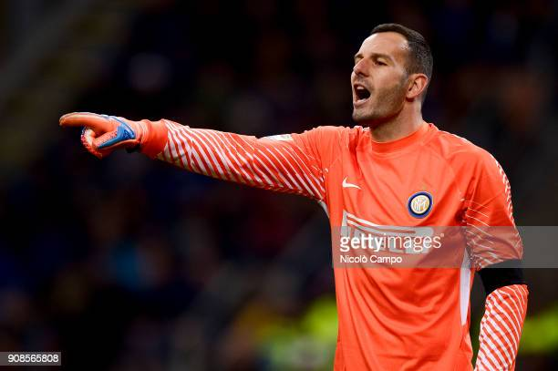 Samir Handanovic of FC Internazionale gestures during the Serie A football match between FC Internazionale and AS Roma The match ended in a 11 tie