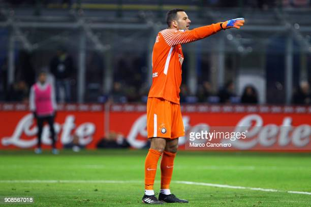 Samir Handanovic of FC Internazionale gestures during the Serie A match between FC Internazionale and As Roma The match ended in a 11 tie