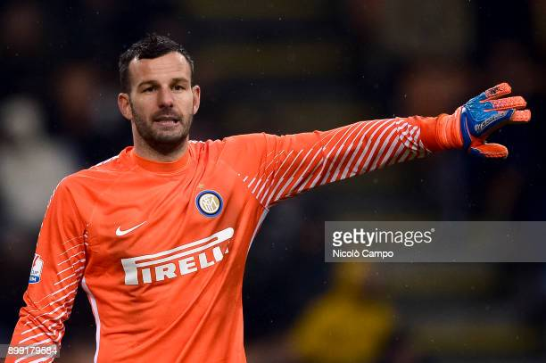Samir Handanovic of FC Internazionale gestures during the TIM Cup football match between AC Milan and FC Internazionale AC Milan won 10 over FC...