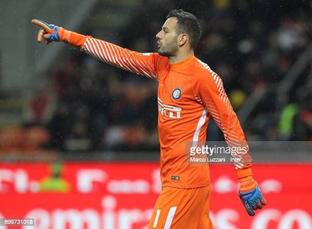 Samir Handanovic of FC Internazionale gestures during the TIM Cup match between AC Milan and FC Internazionale at Stadio Giuseppe Meazza on December...