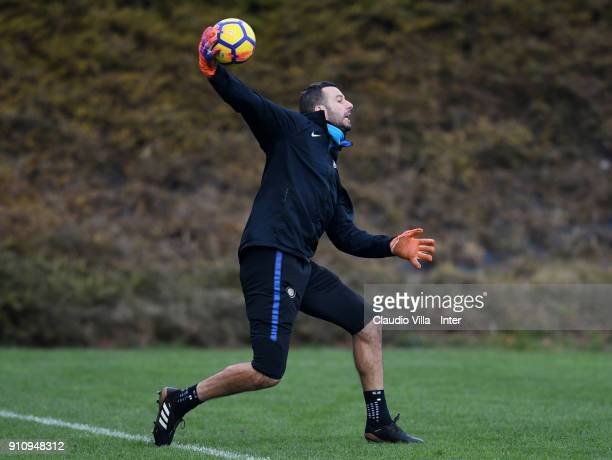 Samir Handanovic of FC Internazionale in action during a FC Internazionale training session at Suning Training Center at Appiano Gentile on January...