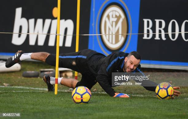 Samir Handanovic of FC Internazionale in action during the FC Internazionale training session at Suning Training Center at Appiano Gentile on January...