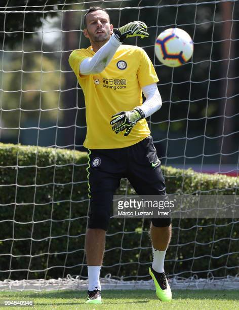Samir Handanovic of FC Internazionale in action during the FC Internazionale training session at the club's training ground Suning Training Center in...