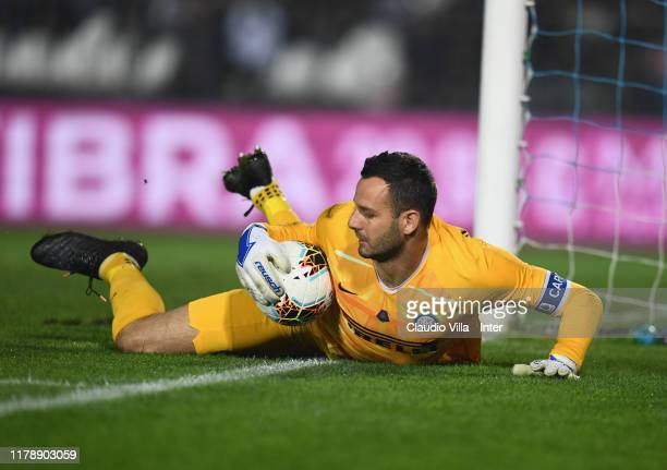 Samir Handanovic of FC Internazionale in action during the Serie A match between Brescia Calcio and FC Internazionale at Stadio Mario Rigamonti on...