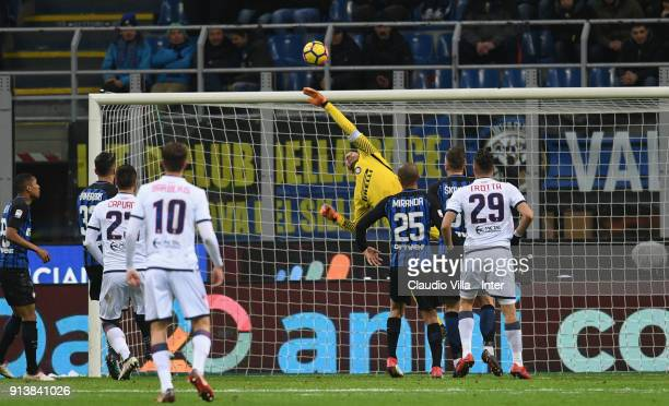 Samir Handanovic of FC Internazionale in action during the serie A match between FC Internazionale and FC Crotone at Stadio Giuseppe Meazza on...