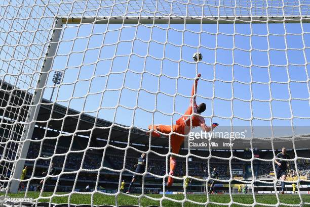 Samir Handanovic of FC Internazionale in action during the serie A match between AC Chievo Verona and FC Internazionale at Stadio Marc'Antonio...
