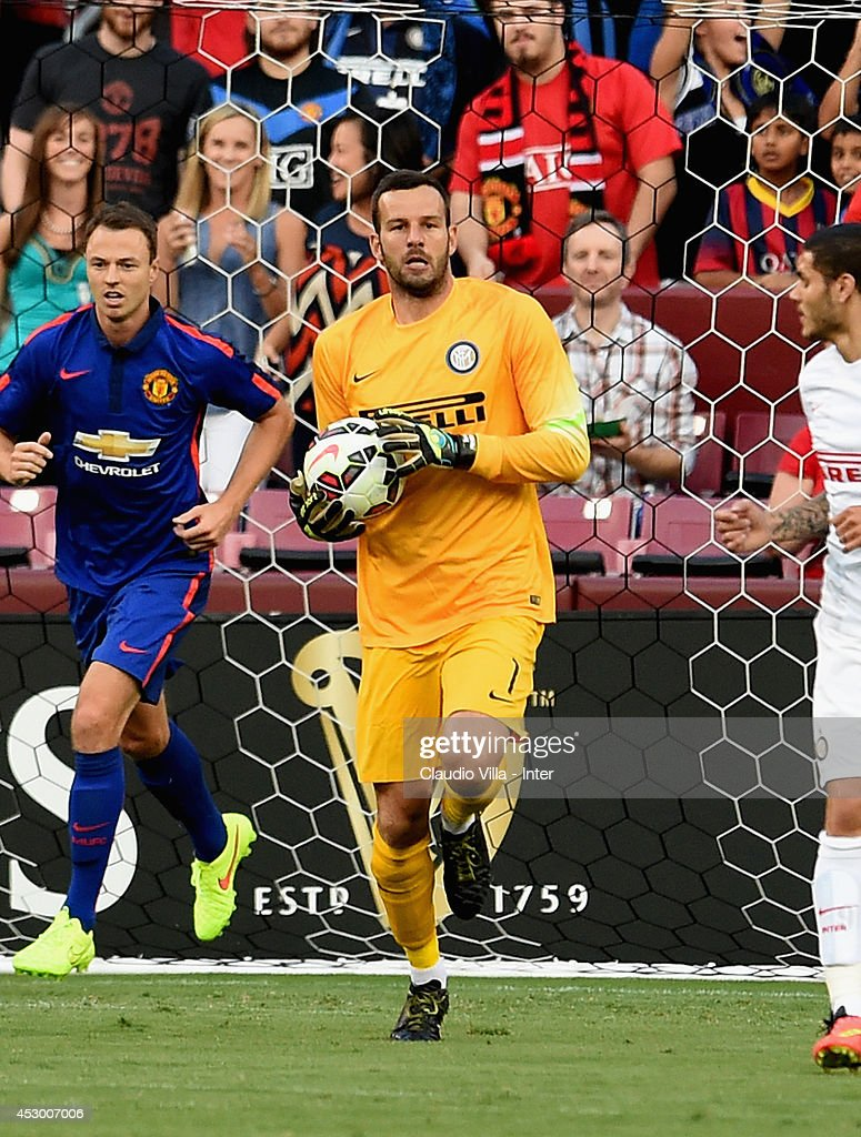 Samir Handanovic of FC Internazionale in action during their match against Manchester United at FedExField on July 29, 2014 in Landover, Maryland.