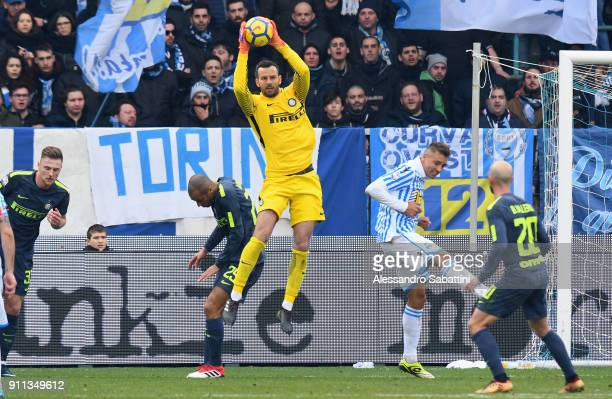 Samir Handanovic of FC Internazionale jump for the ball during the serie A match between Spal and FC Internazionale at Stadio Paolo Mazza on January...