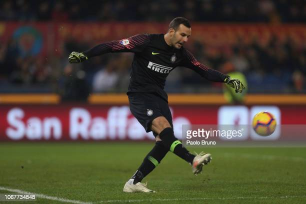 Samir Handanovic of FC Internazionale kicks the ball during the Serie A match between AS Roma and FC Internazionale at Stadio Olimpico on December 2...