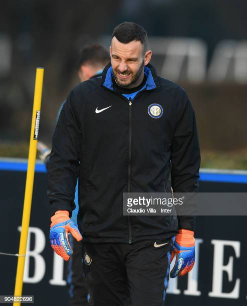 Samir Handanovic of FC Internazionale looks on during the FC Internazionale training session at Suning Training Center at Appiano Gentile on January...