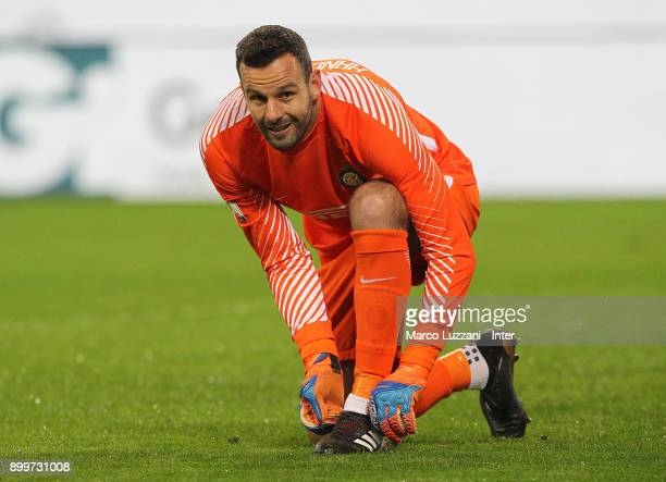 Samir Handanovic of FC Internazionale looks on during the TIM Cup match between AC Milan and FC Internazionale at Stadio Giuseppe Meazza on December...
