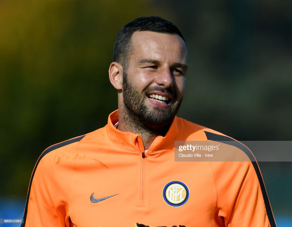 Samir Handanovic of FC Internazionale looks on during the training session at Suning Training Center at Appiano Gentile on October 12, 2017 in Como, Italy.
