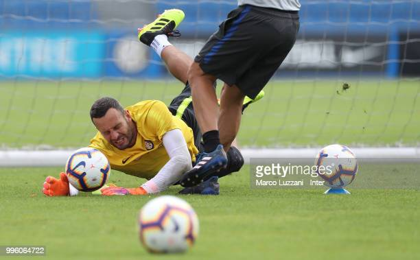 Samir Handanovic of FC Internazionale makes a save during the FC Internazionale training session at the club's training ground Suning Training Center...