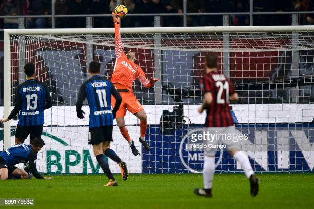 Samir Handanovic of FC Internazionale makes a save during the TIM Cup football match between AC Milan and FC Internazionale AC Milan won 10 over FC...