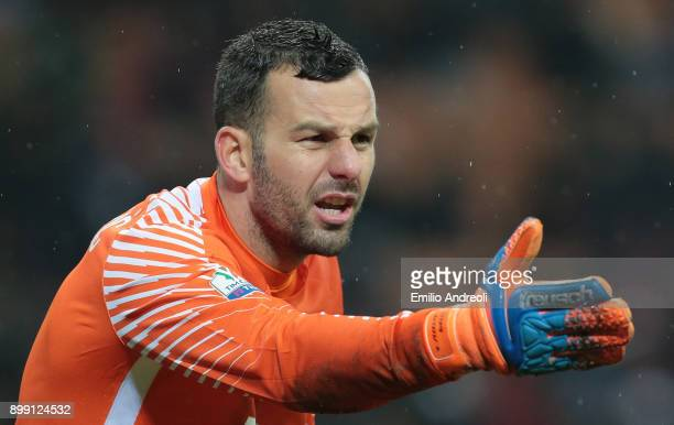 Samir Handanovic of FC Internazionale Milano gestures during the TIM Cup match between AC Milan and FC Internazionale at Stadio Giuseppe Meazza on...