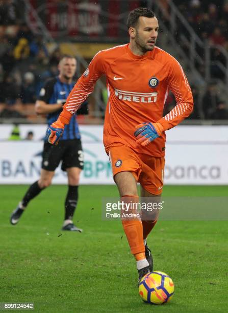 Samir Handanovic of FC Internazionale Milano in action during the TIM Cup match between AC Milan and FC Internazionale at Stadio Giuseppe Meazza on...
