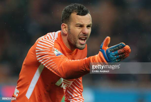 Samir Handanovic of FC Internazionale Milano shouts during the TIM Cup match between AC Milan and FC Internazionale at Stadio Giuseppe Meazza on...