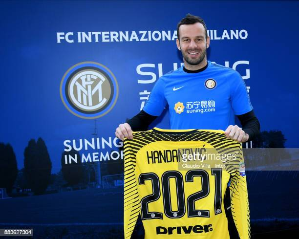 Samir Handanovic of FC Internazionale poses for a photo after the FC Internazionale training session at Suning Training Center at Appiano Gentile on...