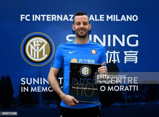 Samir Handanovic of FC Internazionale poses for a photo prior to the FC Internazionale training session at the club's training ground Suning Training...