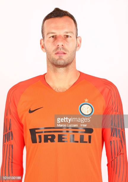 Samir Handanovic of FC Internazionale poses with the club shirt at the club's training ground Suning Training Center in memory of Angelo Moratti on...