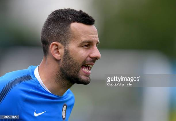 Samir Handanovic of FC Internazionale reacts during the FC Internazionale training session at the club's training ground Suning Training Center in...