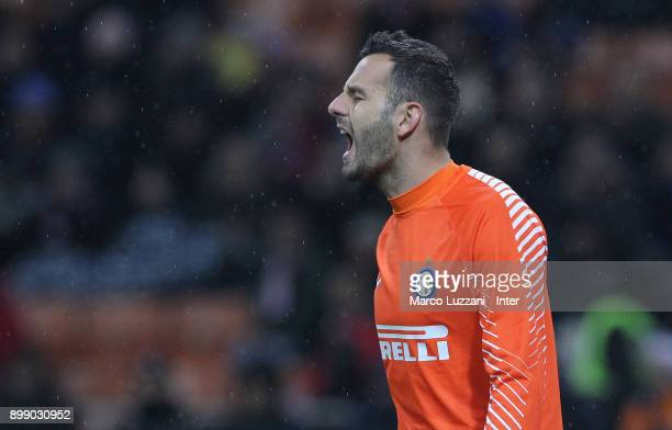 Samir Handanovic of FC Internazionale reacts during the TIM Cup match between AC Milan and FC Internazionale at Stadio Giuseppe Meazza on December 27...