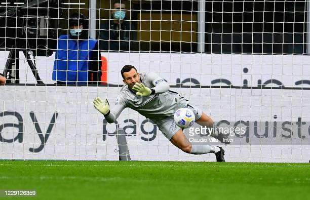 Samir Handanovic of FC Internazionale saves a penalty-kick of Zlatan Ibrahimovic of AC Milan during the Serie A match between FC Internazionale and...
