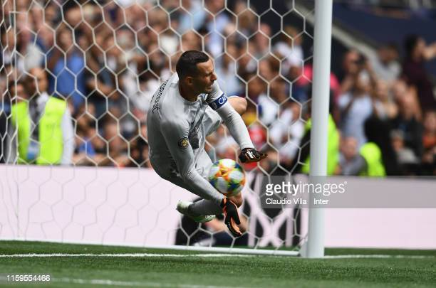 Samir Handanovic of FC Internazionale saves the penalty during the 2019 International Champions Cup match between Tottenham Hotspur and FC...