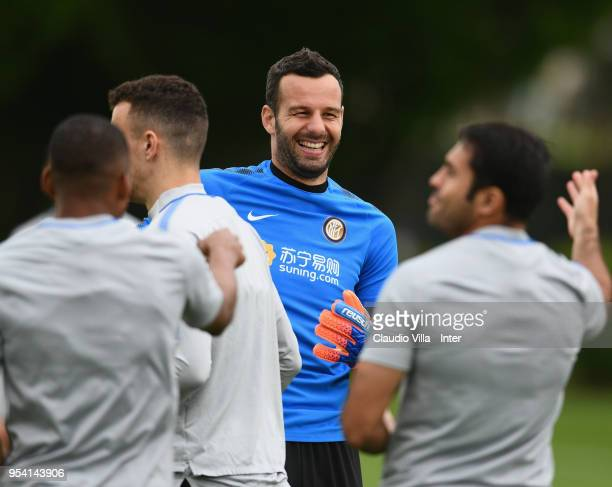 Samir Handanovic of FC Internazionale smiles during the FC Internazionale training session at the club's training ground Suning Training Center in...