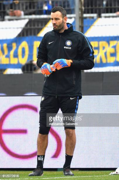 Samir Handanovic of FC Internazionale warms up before the serie A match between Spal and FC Internazionale at Stadio Paolo Mazza on January 28 2018...
