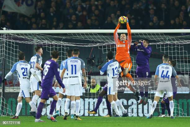 Samir Handanovic of Internazionale at Artemio Franchi Stadium in Florence Italy on January 5 2017
