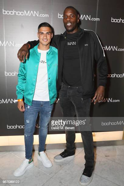 Samir Kamani and Lawrence Okolie attends boohooMAN by Dele Alli Launch at Radio Rooftop on May 10 2018 in London England