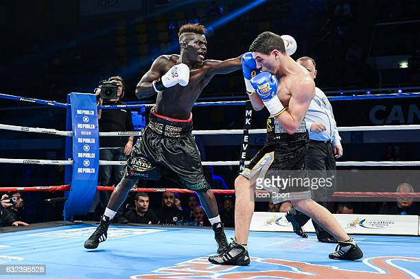 Samir Kasmi of France and Dame Seck of France during the Main Event 2 at Salle Marcel Cerdan on January 21 2017 in Paris France