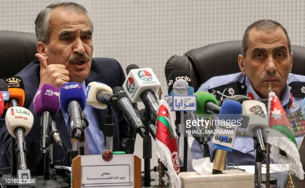Samir Mubaideen Jordan's Interior Minister speaks during a press conference in the capital Amman on August 13 with Public Security Director Major...