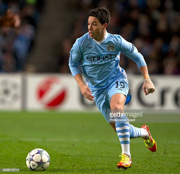 Samir Nasri in action for Manchester City during the UEFA Champions League Group A match between Manchester City and FC Bayern Muenchen at the Etihad...