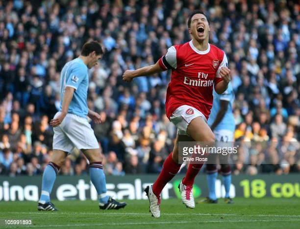Samir Nasri of Arsenal celebrates his goal during the Barclays Premier League match between Manchester City and Arsenal at City of Manchester Stadium...