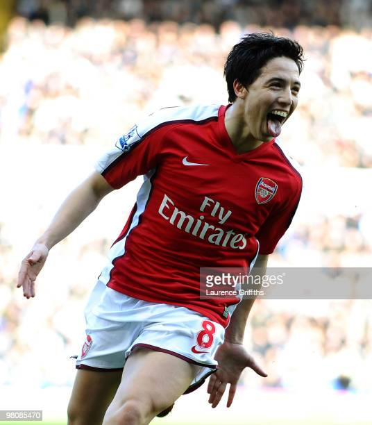Samir Nasri of Arsenal celebrates scoring during the Barclays Premier League match between Birmingham City and Arsenal at St Andrews Stadium on March...