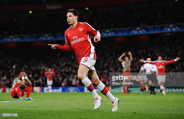 Samir Nasri of Arsenal celebrates scoring the first goal during the UEFA Champions League group H match between Arsenal and Standard Liege at...