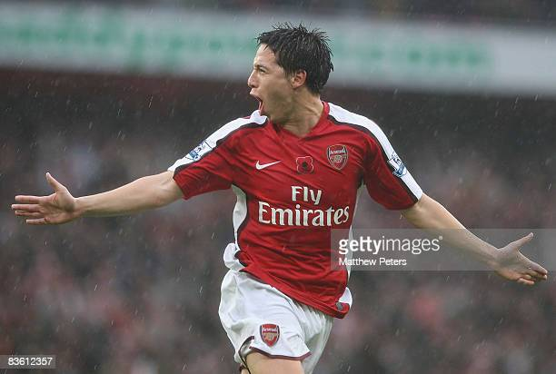 Samir Nasri of Arsenal celebrates scoring their second goal during the Barclays Premier League match between Arsenal and Manchester United at the...