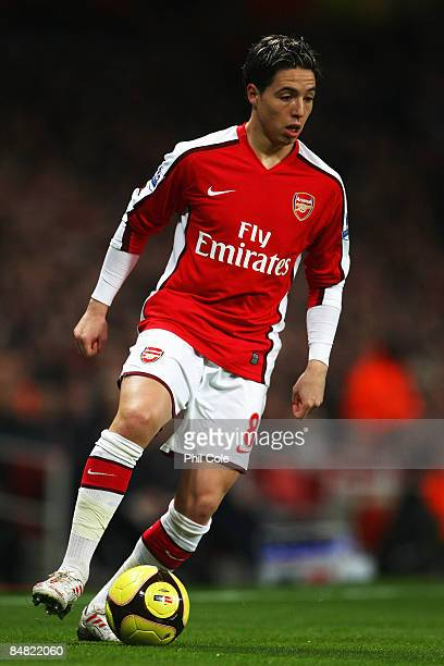 Samir Nasri of Arsenal in action during the FA Cup 4th Round Replay between Arsenal and Cardiff City at the Emirates Stadium on February 16 2009 in...