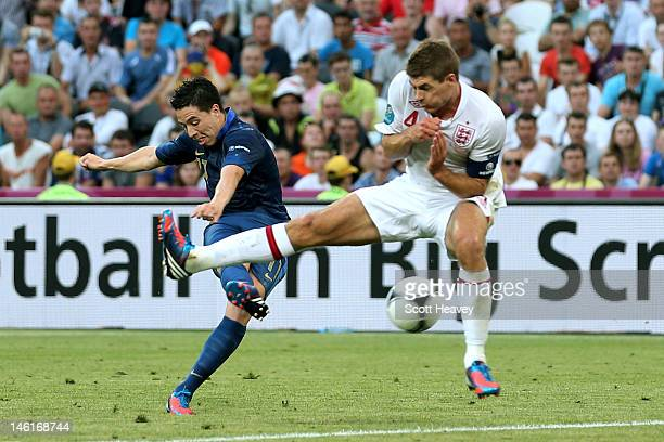 Samir Nasri of France scores their first goal past Steven Gerrard of England during the UEFA EURO 2012 group D match between France and England at...