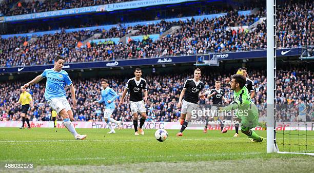 Samir Nasri of Man City scores their 2nd goal during the Barclays Premier League match between Manchester City and Southampton at the Etihad Stadium...