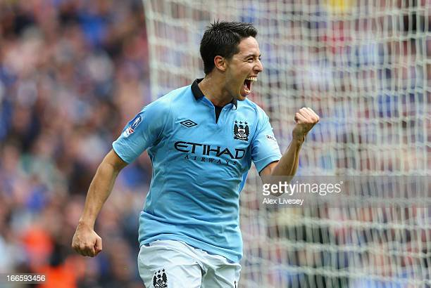 Samir Nasri of Manchester City celebrates as he scores the opening goal during the FA Cup with Budweiser Semi Final match between Chelsea and...