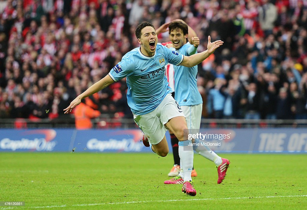 Samir Nasri of Manchester City celebrates his goal during the Capital One Cup Final between Manchester City and Sunderland at Wembley Stadium on March 2, 2014 in London, England.