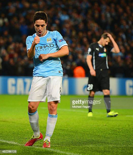 Samir Nasri of Manchester City celebrates his team's second goal during the UEFA Champions League Group D match between Manchester City and FC...