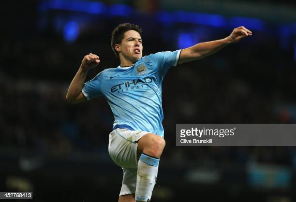 Samir Nasri of Manchester City celebrates his team's third goal during the Barclays Premier League match between Manchester City and Swansea City at...