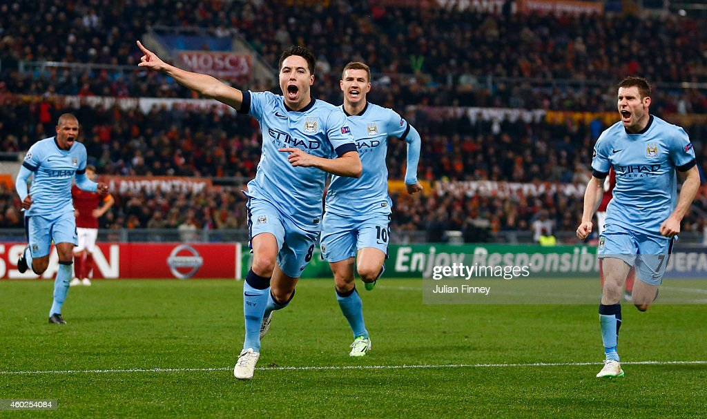 Samir Nasri of Manchester City celebrates scoring the first goal during the UEFA Champions League Group E match between AS Roma and Manchester City FC on December 10, 2014 in Rome, Italy.