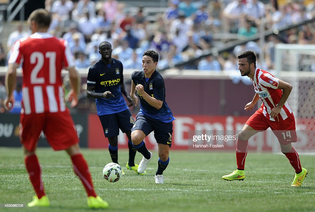 Samir Nasri #8 of Manchester City controls the ball during the first half of the International Champions Cup match against the Olympiacos on August 2, 2014 at TCF Bank Stadium in Minneapolis, Minnesota. The Olympiacos defeated the Manchester City in a penalty shootout.